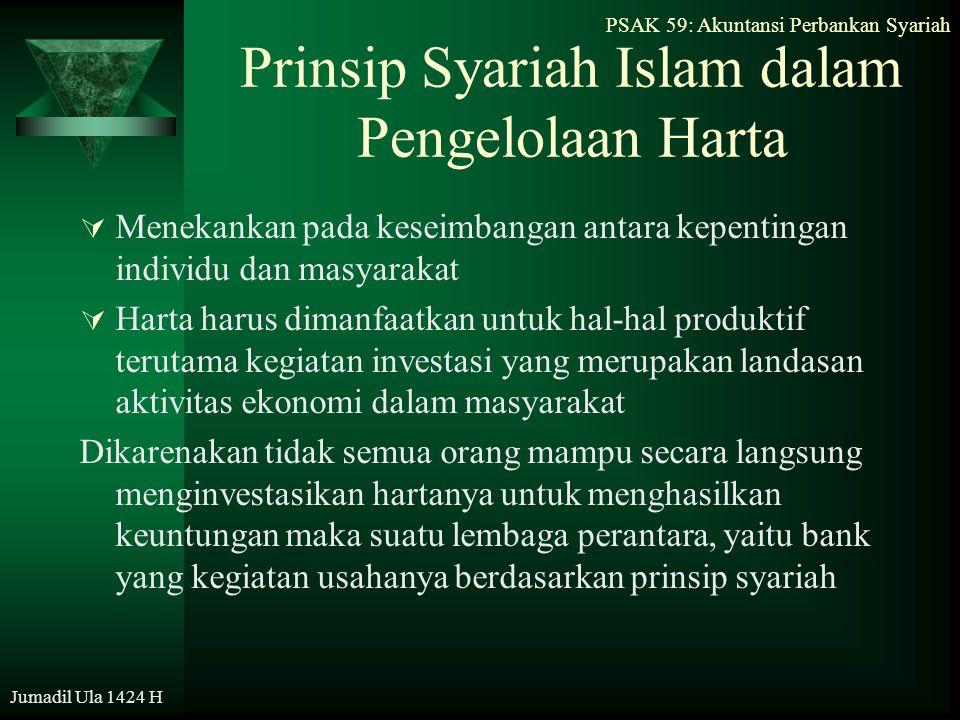 PSAK 59: Akuntansi Perbankan Syariah Jumadil Ula 1424 H PSAK Akuntansi Perbankan Syariah  Tujuan: mengatur perlakuan akuntansi (pengakuan, pengukuran, penyajian, dan pengungkapan) transaksi khusus yang terkait dengan aktivitas bank syariah.