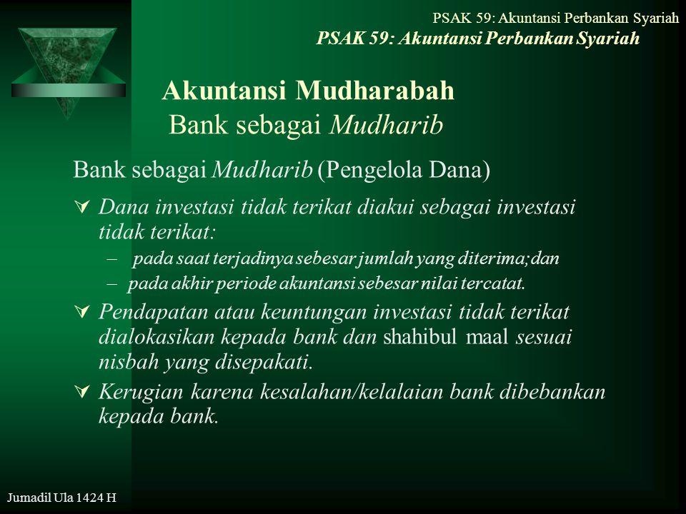 PSAK 59: Akuntansi Perbankan Syariah Jumadil Ula 1424 H Akuntansi Mudharabah Bank sebagai Mudharib Bank sebagai Mudharib (Pengelola Dana)  Dana inves
