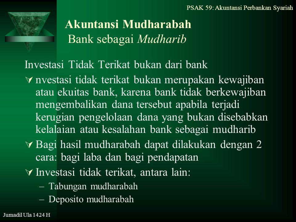 Jumadil Ula 1424 H Akuntansi Mudharabah Bank sebagai Mudharib Investasi Tidak Terikat bukan dari bank  nvestasi tidak terikat bukan merupakan kewajib