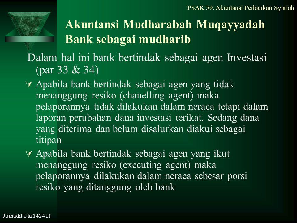 PSAK 59: Akuntansi Perbankan Syariah Jumadil Ula 1424 H Akuntansi Mudharabah Muqayyadah Bank sebagai mudharib Dalam hal ini bank bertindak sebagai age