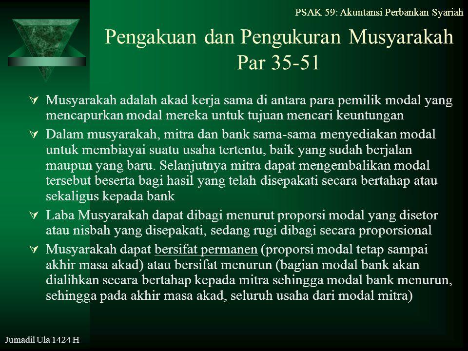 PSAK 59: Akuntansi Perbankan Syariah Jumadil Ula 1424 H Pengakuan dan Pengukuran Musyarakah Par 35-51  Musyarakah adalah akad kerja sama di antara pa