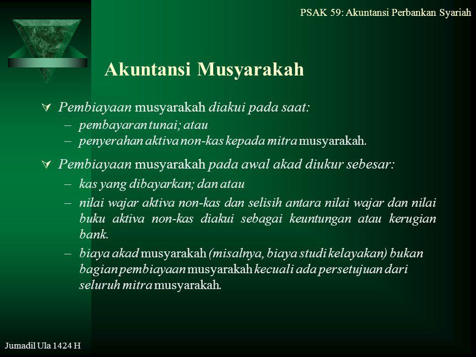 PSAK 59: Akuntansi Perbankan Syariah Jumadil Ula 1424 H Akuntansi Musyarakah  Pembiayaan musyarakah diakui pada saat: –pembayaran tunai; atau –penyer
