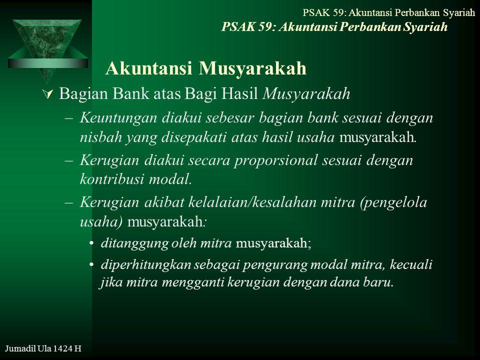 PSAK 59: Akuntansi Perbankan Syariah Jumadil Ula 1424 H Akuntansi Musyarakah  Bagian Bank atas Bagi Hasil Musyarakah –Keuntungan diakui sebesar bagia