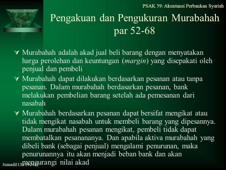 Jumadil Ula 1424 H Pengakuan dan Pengukuran Murabahah par 52-68  Murabahah adalah akad jual beli barang dengan menyatakan harga perolehan dan keuntun