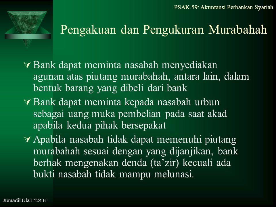 PSAK 59: Akuntansi Perbankan Syariah Jumadil Ula 1424 H Pengakuan dan Pengukuran Murabahah  Bank dapat meminta nasabah menyediakan agunan atas piutan