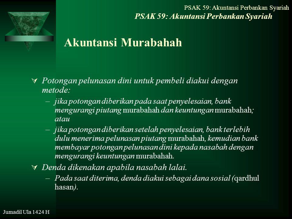 Jumadil Ula 1424 H Akuntansi Murabahah  Potongan pelunasan dini untuk pembeli diakui dengan metode: –jika potongan diberikan pada saat penyelesaian,