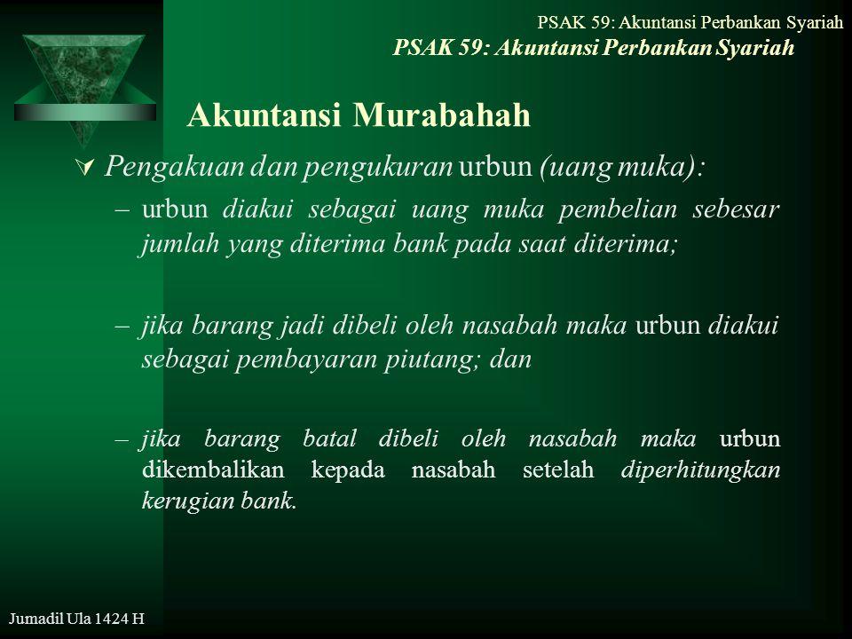 Jumadil Ula 1424 H Akuntansi Murabahah  Pengakuan dan pengukuran urbun (uang muka): –urbun diakui sebagai uang muka pembelian sebesar jumlah yang dit