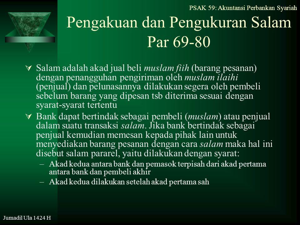 Jumadil Ula 1424 H Pengakuan dan Pengukuran Salam Par 69-80  Salam adalah akad jual beli muslam fiih (barang pesanan) dengan penangguhan pengiriman o