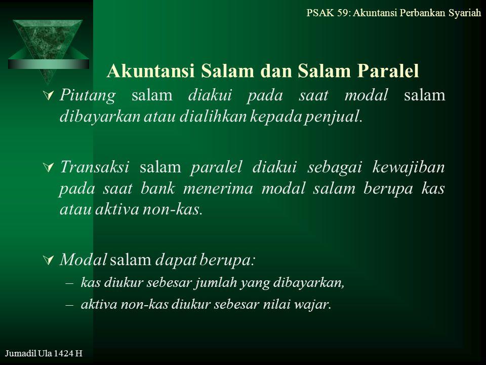 PSAK 59: Akuntansi Perbankan Syariah Jumadil Ula 1424 H Akuntansi Salam dan Salam Paralel  Piutang salam diakui pada saat modal salam dibayarkan atau