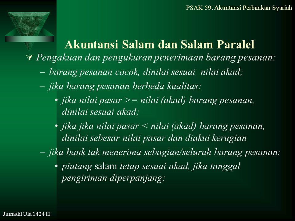 PSAK 59: Akuntansi Perbankan Syariah Jumadil Ula 1424 H Akuntansi Salam dan Salam Paralel  Pengakuan dan pengukuran penerimaan barang pesanan: –baran