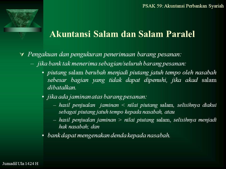 PSAK 59: Akuntansi Perbankan Syariah Jumadil Ula 1424 H Akuntansi Salam dan Salam Paralel  Pengakuan dan pengukuran penerimaan barang pesanan: –jika