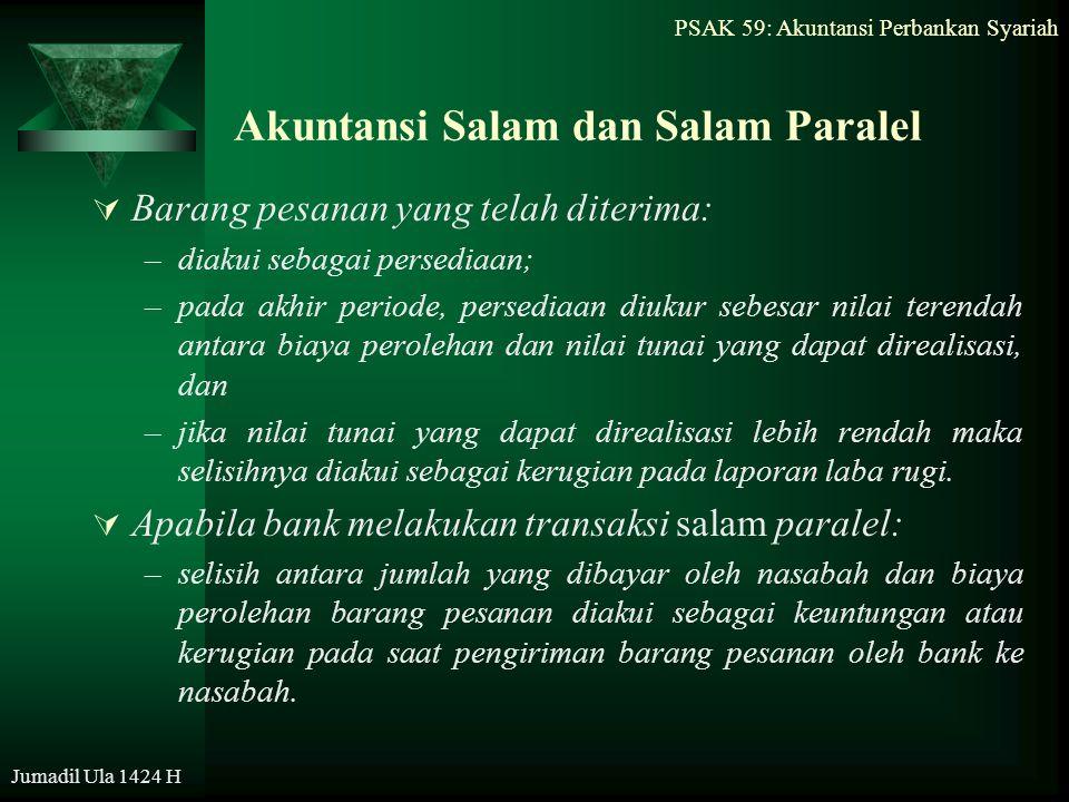 PSAK 59: Akuntansi Perbankan Syariah Jumadil Ula 1424 H Akuntansi Salam dan Salam Paralel  Barang pesanan yang telah diterima: –diakui sebagai persed