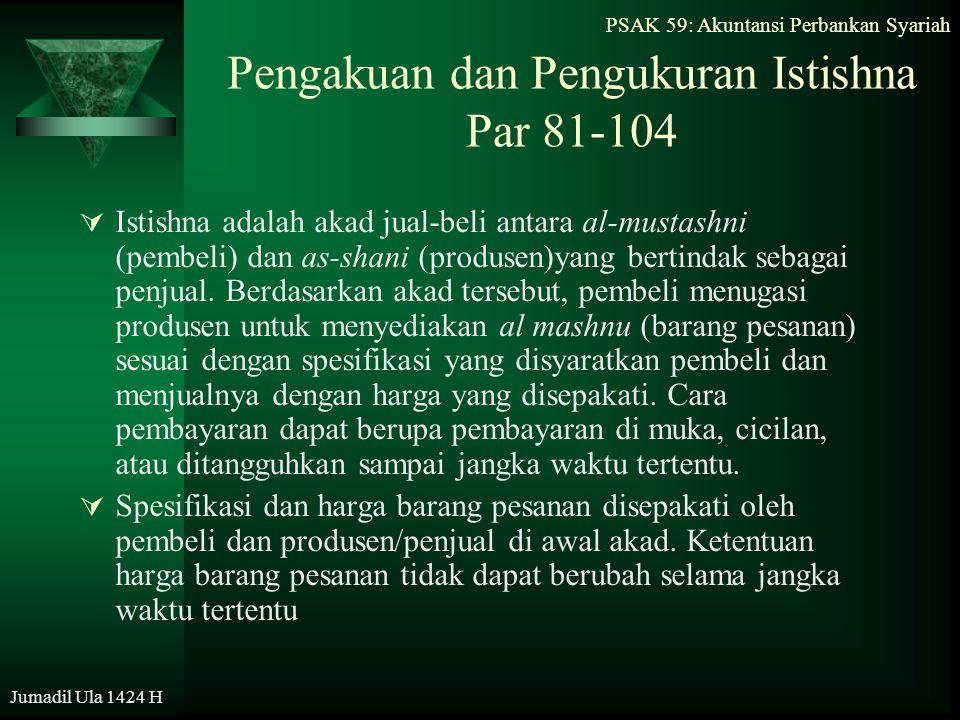 PSAK 59: Akuntansi Perbankan Syariah Jumadil Ula 1424 H Pengakuan dan Pengukuran Istishna Par 81-104  Istishna adalah akad jual-beli antara al-mustas