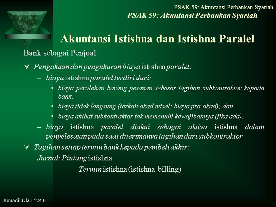 Jumadil Ula 1424 H Akuntansi Istishna dan Istishna Paralel Bank sebagai Penjual  Pengakuan dan pengukuran biaya istishna paralel: –biaya istishna par