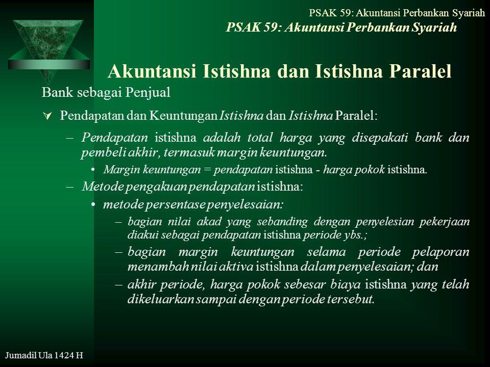 Jumadil Ula 1424 H Akuntansi Istishna dan Istishna Paralel Bank sebagai Penjual  Pendapatan dan Keuntungan Istishna dan Istishna Paralel: –Pendapatan