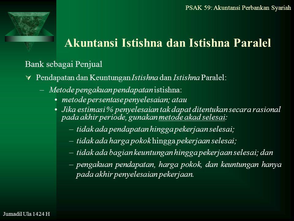 Jumadil Ula 1424 H Akuntansi Istishna dan Istishna Paralel Bank sebagai Penjual  Pendapatan dan Keuntungan Istishna dan Istishna Paralel: –Metode pen