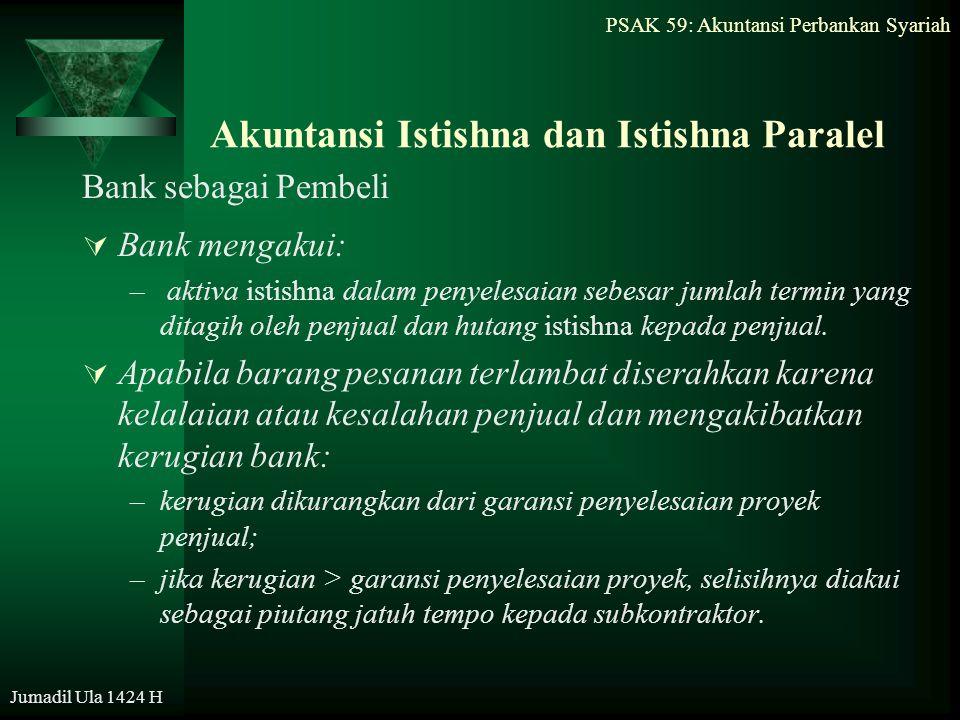 PSAK 59: Akuntansi Perbankan Syariah Jumadil Ula 1424 H Akuntansi Istishna dan Istishna Paralel Bank sebagai Pembeli  Bank mengakui: – aktiva istishn
