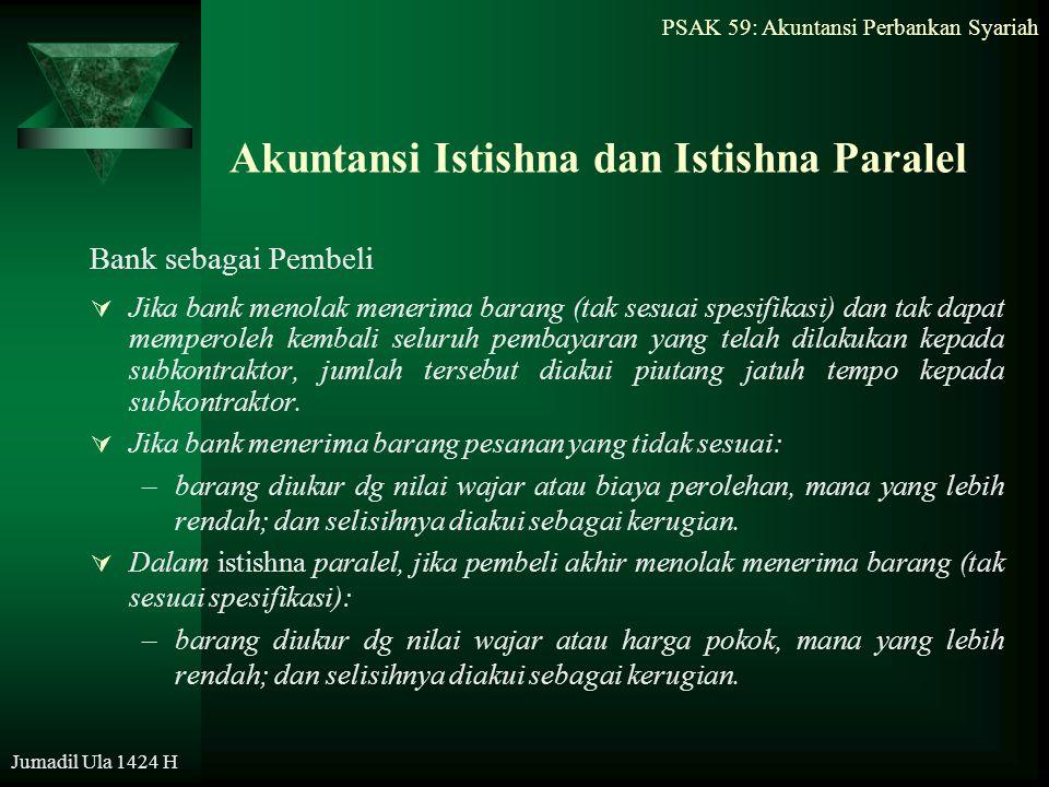 PSAK 59: Akuntansi Perbankan Syariah Jumadil Ula 1424 H Akuntansi Istishna dan Istishna Paralel Bank sebagai Pembeli  Jika bank menolak menerima bara