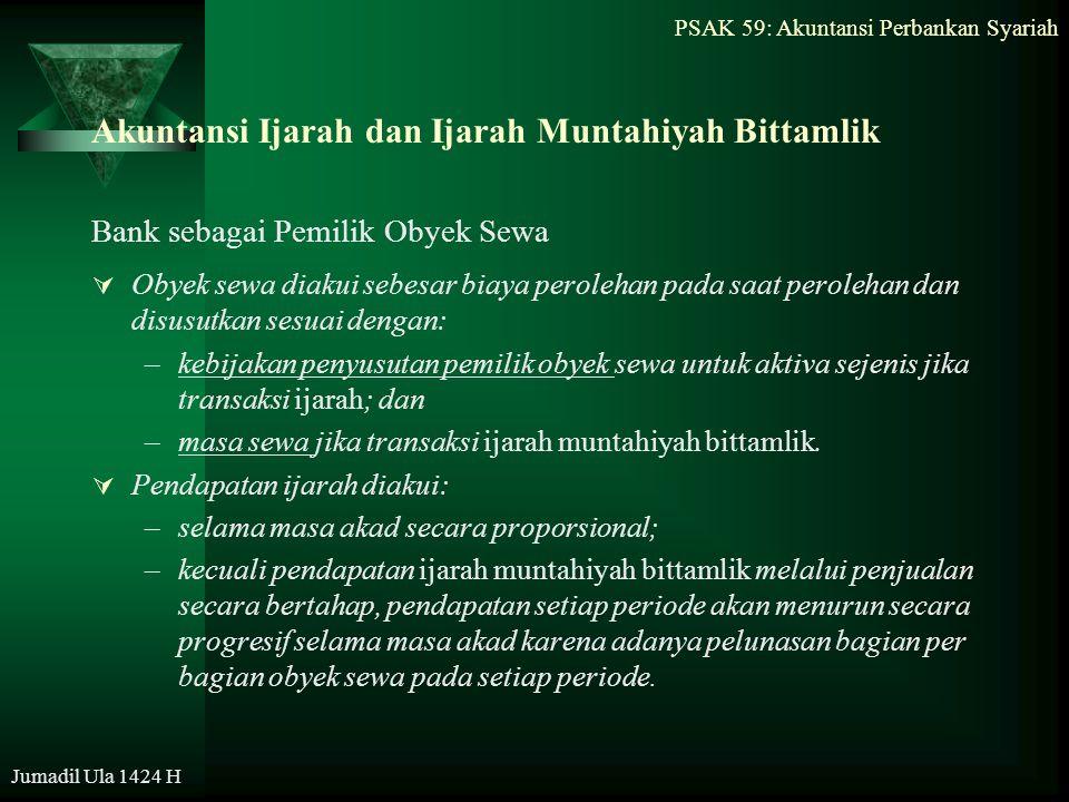 PSAK 59: Akuntansi Perbankan Syariah Jumadil Ula 1424 H Akuntansi Ijarah dan Ijarah Muntahiyah Bittamlik Bank sebagai Pemilik Obyek Sewa  Obyek sewa