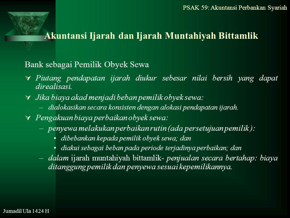 PSAK 59: Akuntansi Perbankan Syariah Jumadil Ula 1424 H Akuntansi Ijarah dan Ijarah Muntahiyah Bittamlik Bank sebagai Pemilik Obyek Sewa  Piutang pen