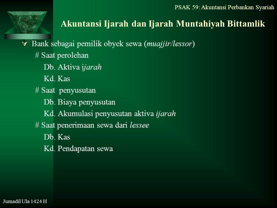 PSAK 59: Akuntansi Perbankan Syariah Jumadil Ula 1424 H Akuntansi Ijarah dan Ijarah Muntahiyah Bittamlik  Bank sebagai pemilik obyek sewa (muajjir/le