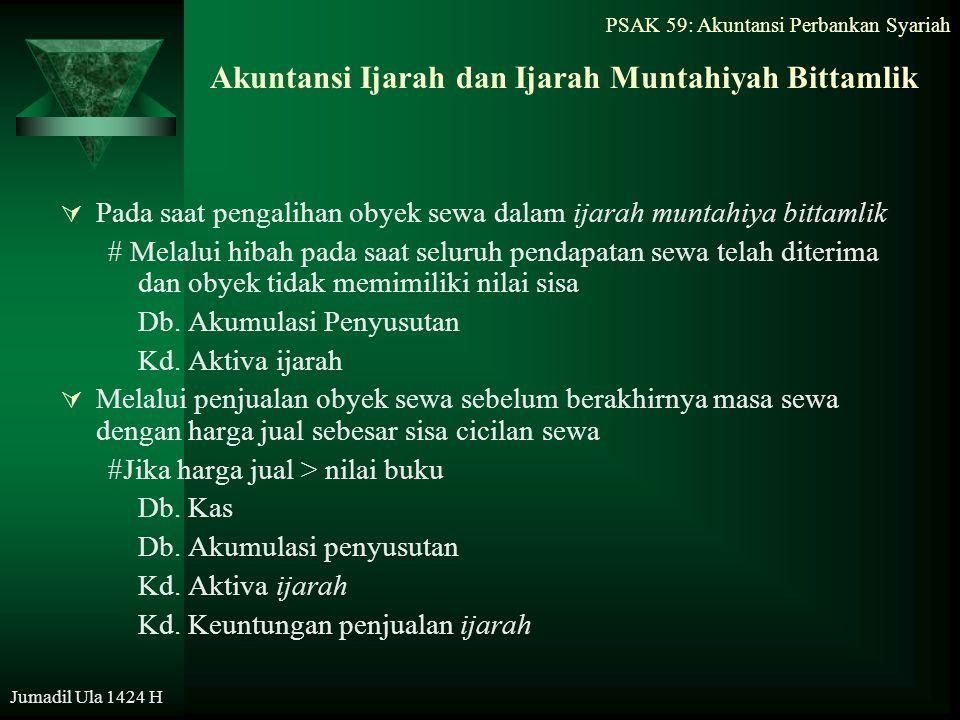 PSAK 59: Akuntansi Perbankan Syariah Jumadil Ula 1424 H Akuntansi Ijarah dan Ijarah Muntahiyah Bittamlik  Pada saat pengalihan obyek sewa dalam ijara