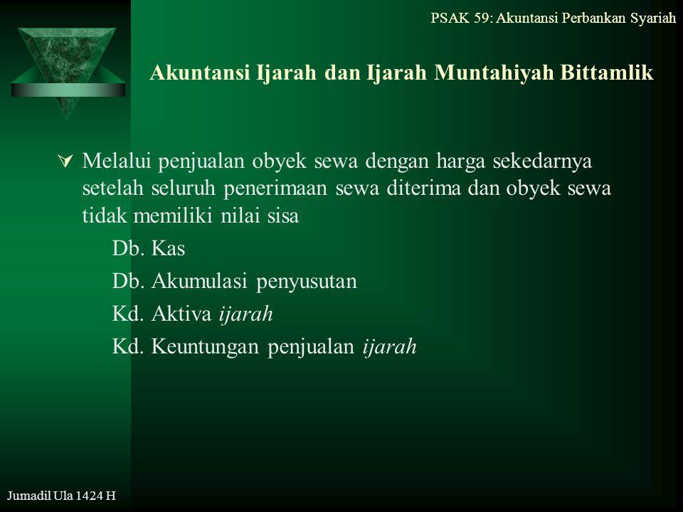 PSAK 59: Akuntansi Perbankan Syariah Jumadil Ula 1424 H Akuntansi Ijarah dan Ijarah Muntahiyah Bittamlik  Melalui penjualan obyek sewa dengan harga s