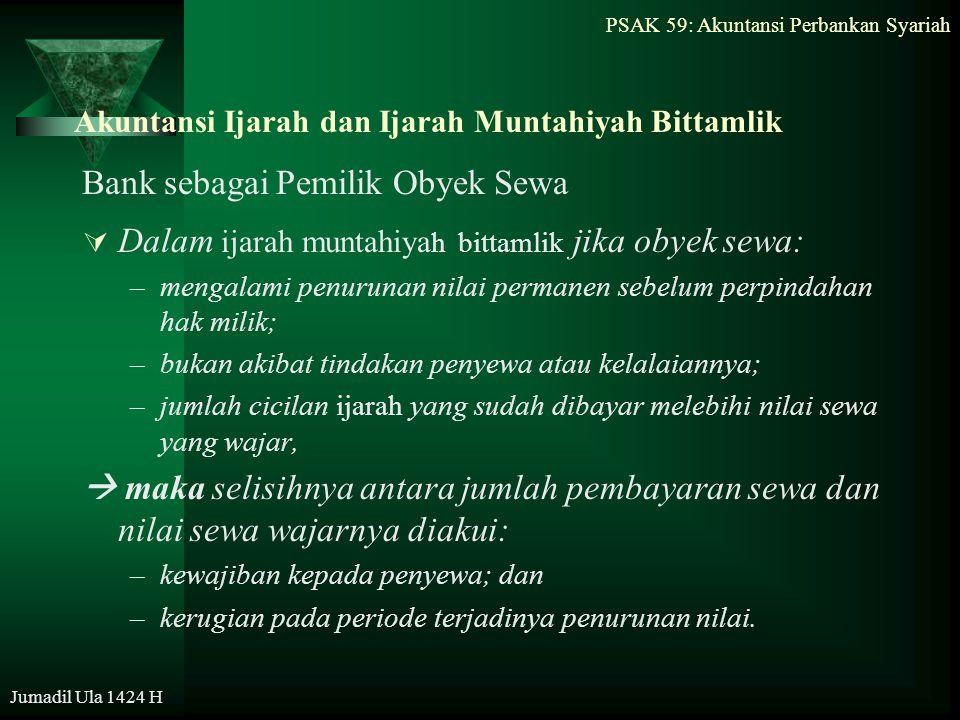 PSAK 59: Akuntansi Perbankan Syariah Jumadil Ula 1424 H Akuntansi Ijarah dan Ijarah Muntahiyah Bittamlik Bank sebagai Pemilik Obyek Sewa  Dalam ijara