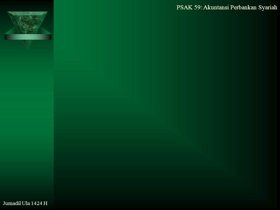 PSAK 59: Akuntansi Perbankan Syariah Jumadil Ula 1424 H Tujuan Akuntansi Keuangan Bank Syariah  menentukan hak dan kewajiban pihak terkait, sesuai prinsip syariah: kejujuran, kebajikan, dan kepatuhan terhadap nilai-nilai bisnis yang Islami;  menyediakan informasi keuangan bagi para pemakai laporan dalam pengambilan keputusan; dan  meningkatkan kepatuhan terhadap prinsip syariah dalam semua transaksi dan kegiatan usaha.