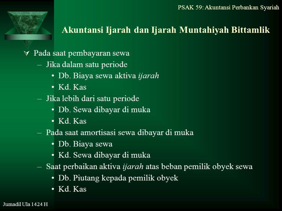 PSAK 59: Akuntansi Perbankan Syariah Jumadil Ula 1424 H Akuntansi Ijarah dan Ijarah Muntahiyah Bittamlik  Pada saat pembayaran sewa –Jika dalam satu