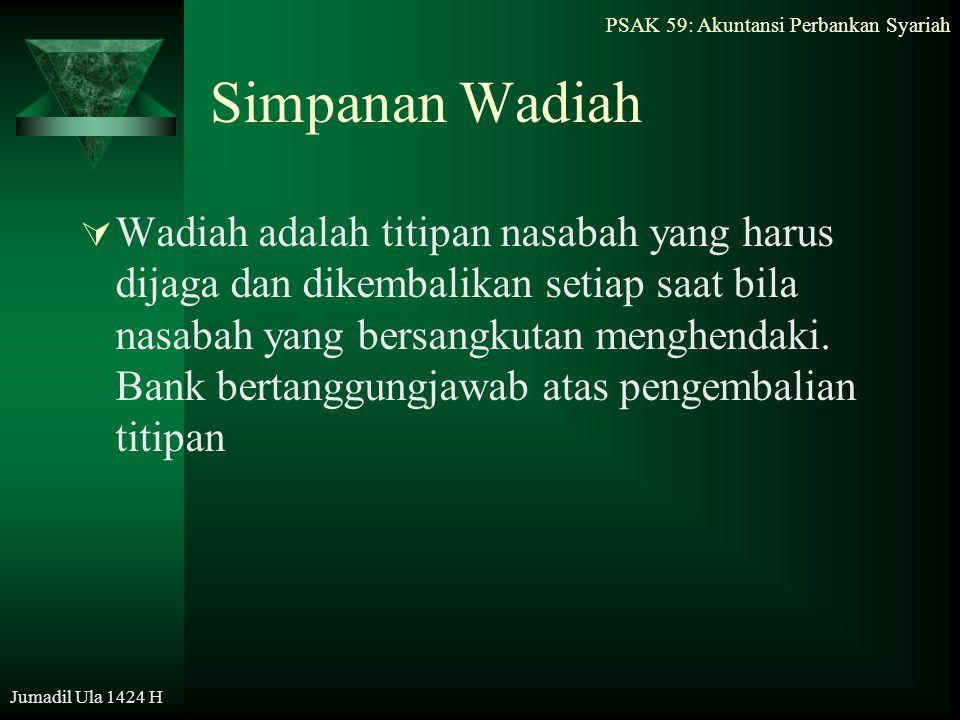 PSAK 59: Akuntansi Perbankan Syariah Jumadil Ula 1424 H Simpanan Wadiah  Wadiah adalah titipan nasabah yang harus dijaga dan dikembalikan setiap saat