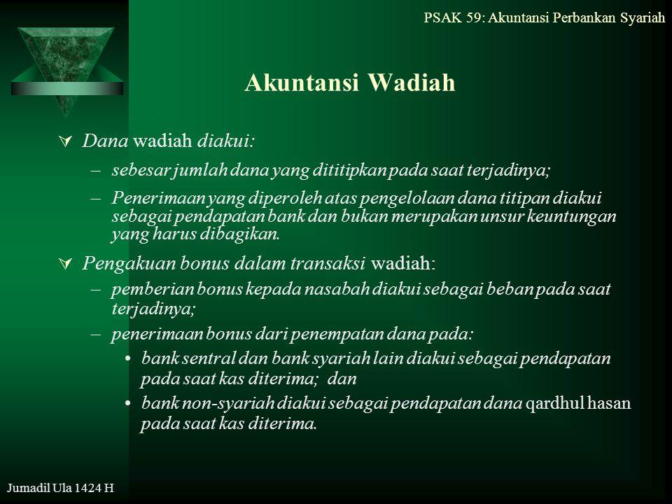 PSAK 59: Akuntansi Perbankan Syariah Jumadil Ula 1424 H Akuntansi Wadiah  Dana wadiah diakui: –sebesar jumlah dana yang dititipkan pada saat terjadin