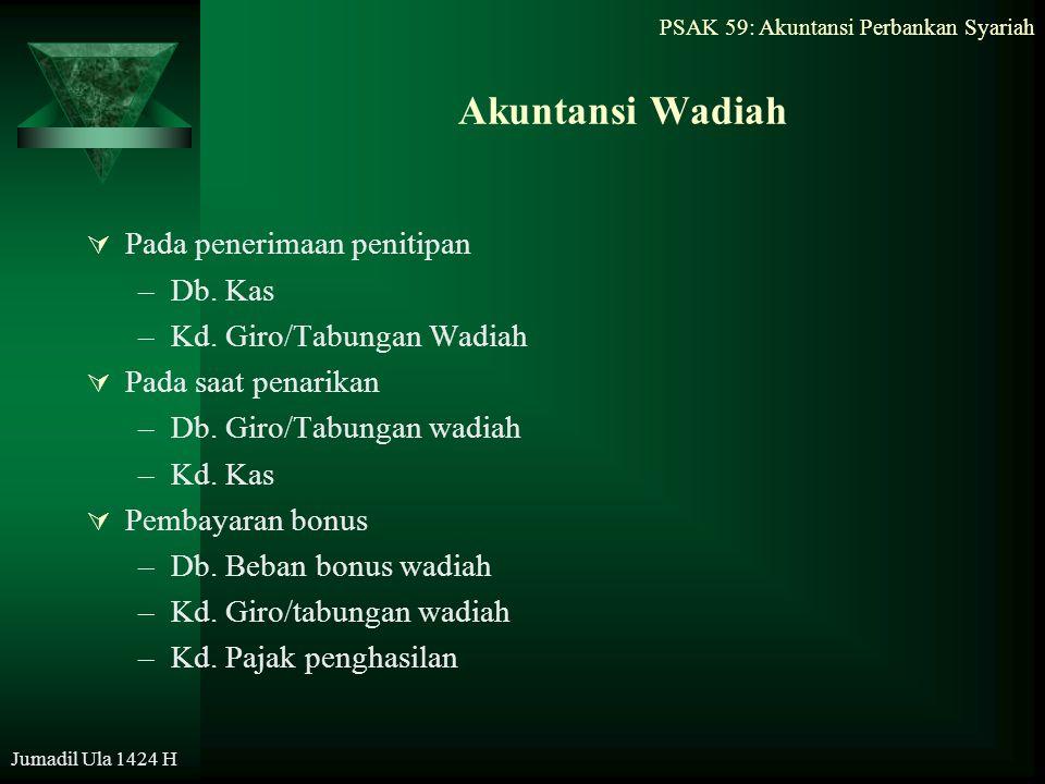 PSAK 59: Akuntansi Perbankan Syariah Jumadil Ula 1424 H Akuntansi Wadiah  Pada penerimaan penitipan –Db. Kas –Kd. Giro/Tabungan Wadiah  Pada saat pe