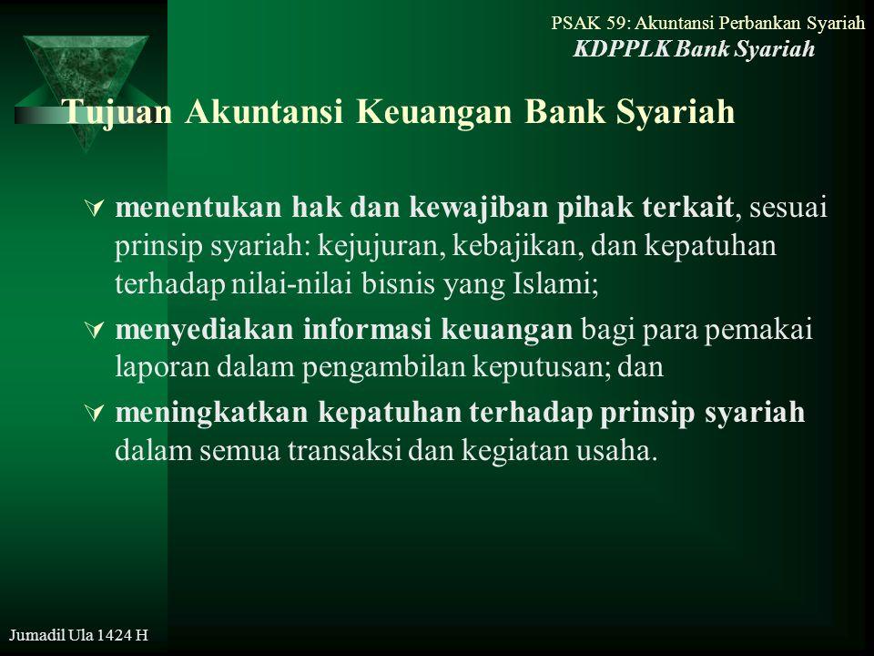 PSAK 59: Akuntansi Perbankan Syariah Jumadil Ula 1424 H Tujuan Laporan Keuangan Bank Syariah - menyediakan informasi keuangan yang menyangkut posisi keuangan, kinerja, serta perubahan posisi keuangan suatu entitas yang bermanfaat bagi sejumlah besar pemakai dalam pengambilan keputusan ekonomi; - menunjukan apa yang telah dilakukan oleh manajemen (stewardship), atau pertanggungjawaban manajemen atas sumber daya yang telah dipercayakan kepadanya; KDPPLK Bank Syariah