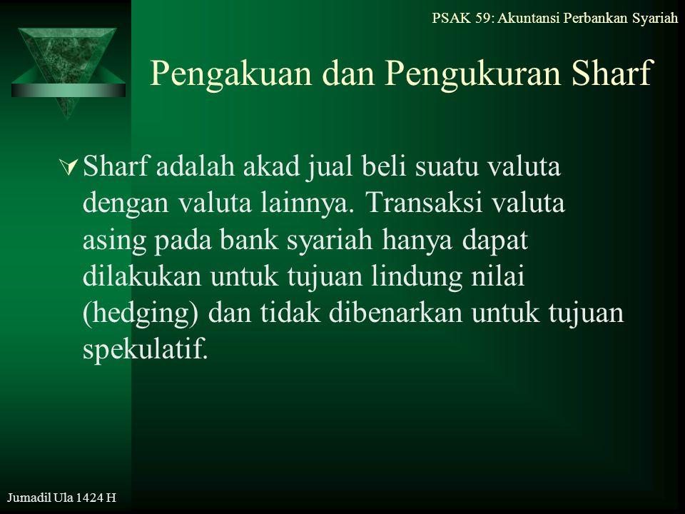 PSAK 59: Akuntansi Perbankan Syariah Jumadil Ula 1424 H Pengakuan dan Pengukuran Sharf  Sharf adalah akad jual beli suatu valuta dengan valuta lainny