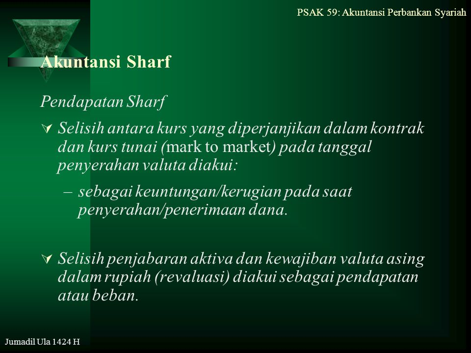 PSAK 59: Akuntansi Perbankan Syariah Jumadil Ula 1424 H Akuntansi Sharf Pendapatan Sharf  Selisih antara kurs yang diperjanjikan dalam kontrak dan ku