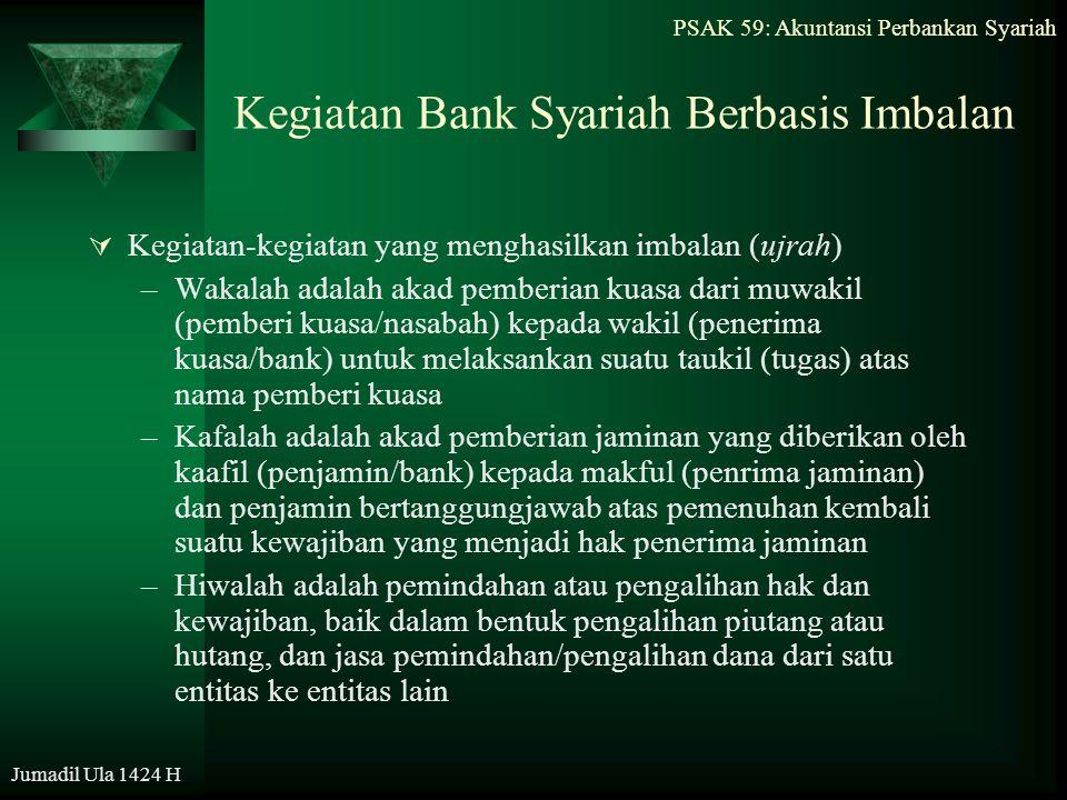 PSAK 59: Akuntansi Perbankan Syariah Jumadil Ula 1424 H Kegiatan Bank Syariah Berbasis Imbalan  Kegiatan-kegiatan yang menghasilkan imbalan (ujrah) –