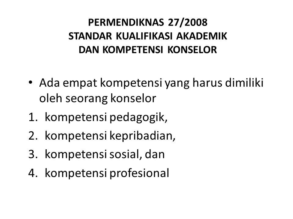 PERMENDIKNAS 27/2008 STANDAR KUALIFIKASI AKADEMIK DAN KOMPETENSI KONSELOR Ada empat kompetensi yang harus dimiliki oleh seorang konselor 1.kompetensi
