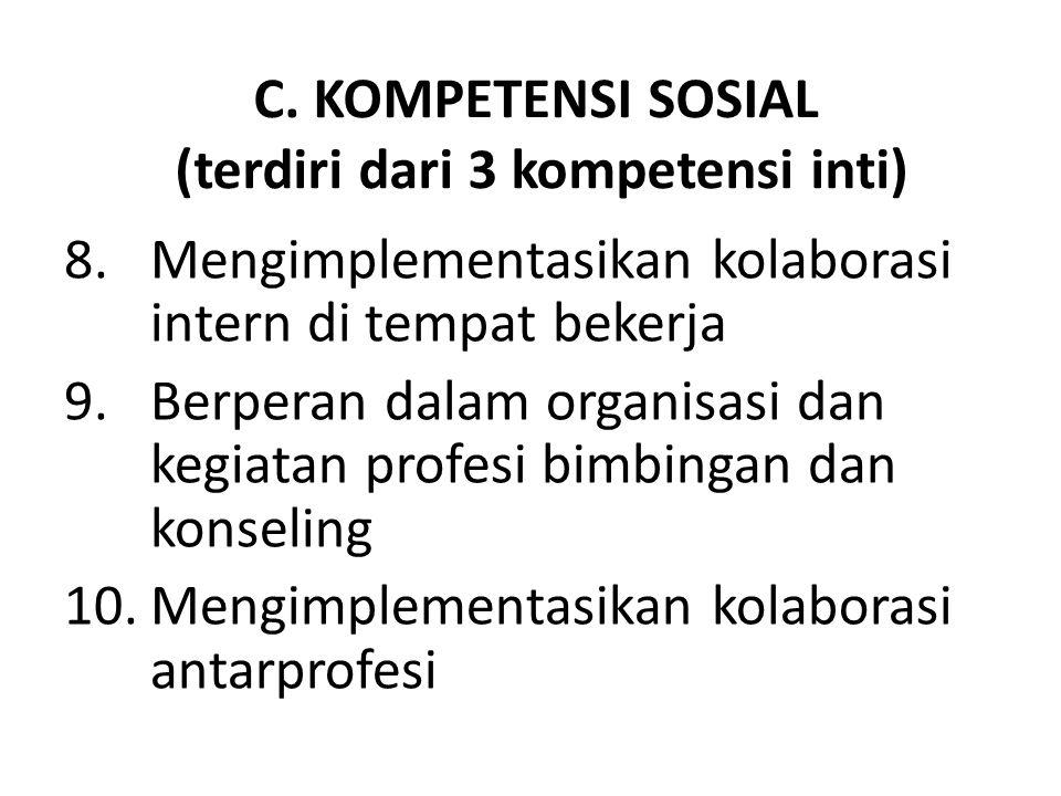 C. KOMPETENSI SOSIAL (terdiri dari 3 kompetensi inti) 8.Mengimplementasikan kolaborasi intern di tempat bekerja 9.Berperan dalam organisasi dan kegiat