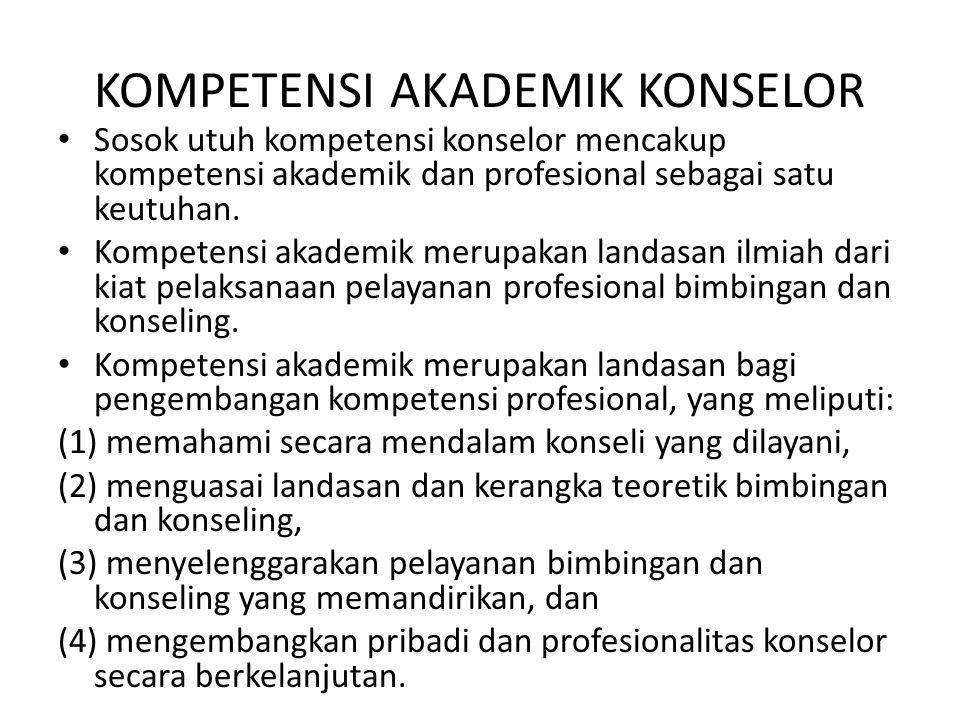 KOMPETENSI AKADEMIK KONSELOR Sosok utuh kompetensi konselor mencakup kompetensi akademik dan profesional sebagai satu keutuhan. Kompetensi akademik me