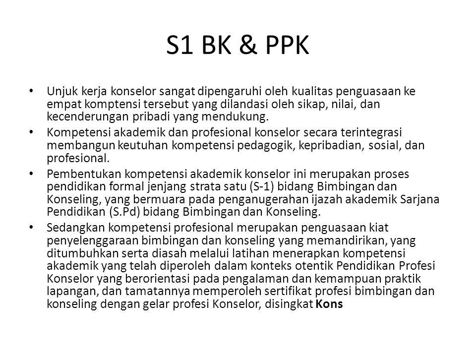 S1 BK & PPK Unjuk kerja konselor sangat dipengaruhi oleh kualitas penguasaan ke empat komptensi tersebut yang dilandasi oleh sikap, nilai, dan kecende