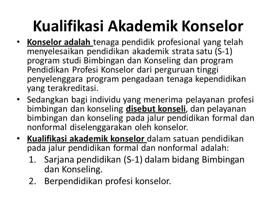 Kualifikasi Akademik Konselor Konselor adalah tenaga pendidik profesional yang telah menyelesaikan pendidikan akademik strata satu (S-1) program studi