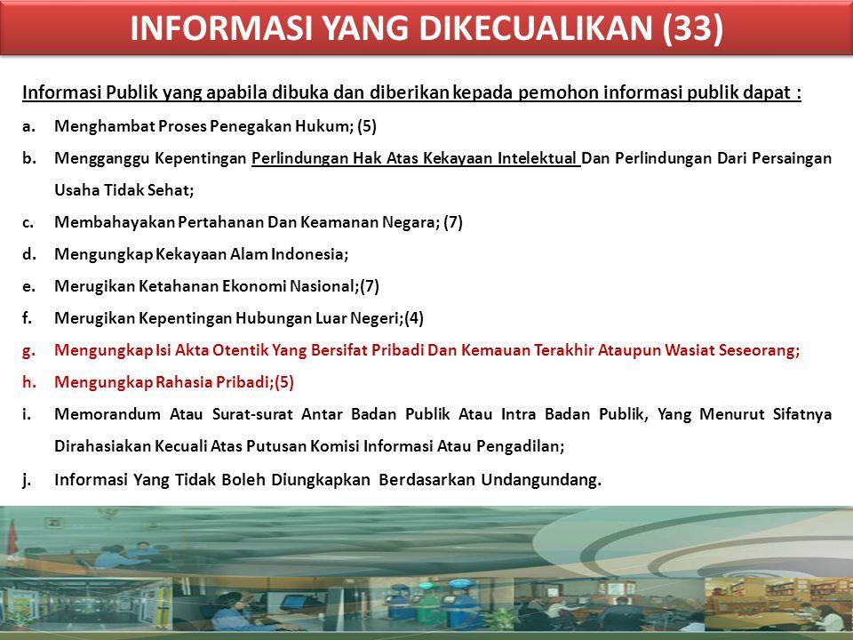 INFORMASI YANG DIKECUALIKAN (33) INFORMASI YANG DIKECUALIKAN (33) Informasi Publik yang apabila dibuka dan diberikan kepada pemohon informasi publik d