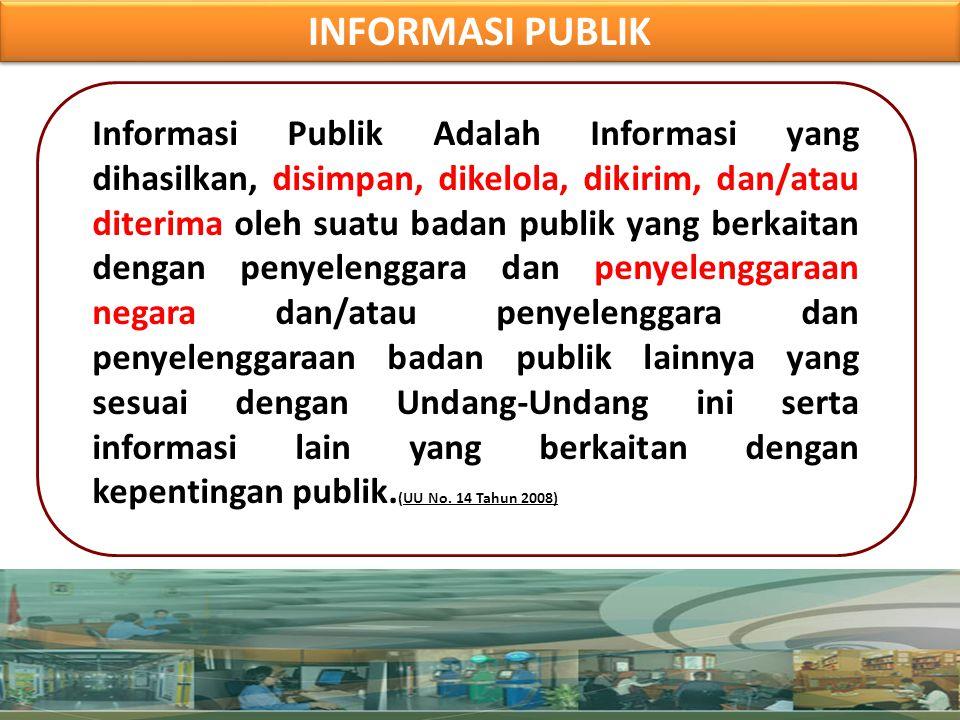BADAN PUBLIK WAJIB MENGUMUMKAN LAYANAN INFORMASI SETIAP TAHUN BADAN PUBLIK WAJIB MENGUMUMKAN LAYANAN INFORMASI SETIAP TAHUN a.Jumlah permintaan informasi yang diterima; b.Waktu yang diperlukan Badan Publik dalam memenuhi setiap permintaan informasi; c.Jumlah pemberian dan penolakan permintaan informasi; dan/atau; d.Alasan penolakan permintaan informasi.