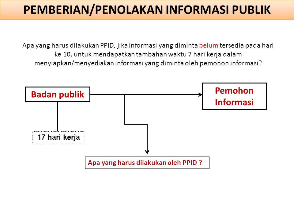 Badan publik Apa yang harus dilakukan oleh PPID ? PEMBERIAN/PENOLAKAN INFORMASI PUBLIK Pemohon Informasi Apa yang harus dilakukan PPID, jika informasi