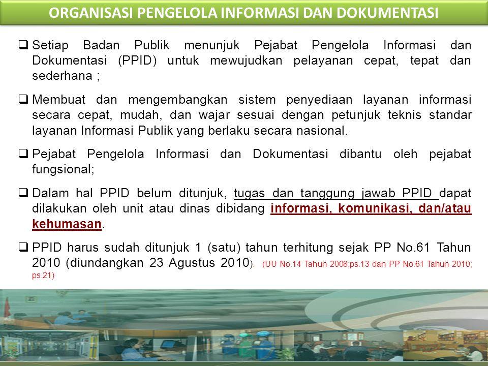 P P I D ORGANISASI PENGELOLA INFORMASI DAN DOKUMENTASI KEMENTERIAN KOMUNIKASI DAN INFORMATIKA (KEPMENKOMINFO NO.: 117/KEP/M.KOMINFO/03/2010) BIDANG PELAYANAN INFORMASI BIDANG PELAYANAN INFORMASI BIDANG PENGELOLAAN INFORMASI BIDANG PENGELOLAAN INFORMASI BIDANG DOKUMENTASI & ARSIP BIDANG DOKUMENTASI & ARSIP BIDANG PENGADUAN & PENYELESAIAN SENGKETA BIDANG PENGADUAN & PENYELESAIAN SENGKETA PEJABAT FUNGSIONAL ( ARSIPARIS, PRANATA HUMAS, PUSTAKAWAN, PRANATA KOMPUTER ) PEJABAT FUNGSIONAL ( ARSIPARIS, PRANATA HUMAS, PUSTAKAWAN, PRANATA KOMPUTER ) ORGANISASI PPID TIM PERTIMBANGAN PELAYANAN INFORMASI