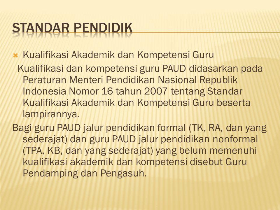  Kualifikasi Akademik dan Kompetensi Guru Kualifikasi dan kompetensi guru PAUD didasarkan pada Peraturan Menteri Pendidikan Nasional Republik Indones
