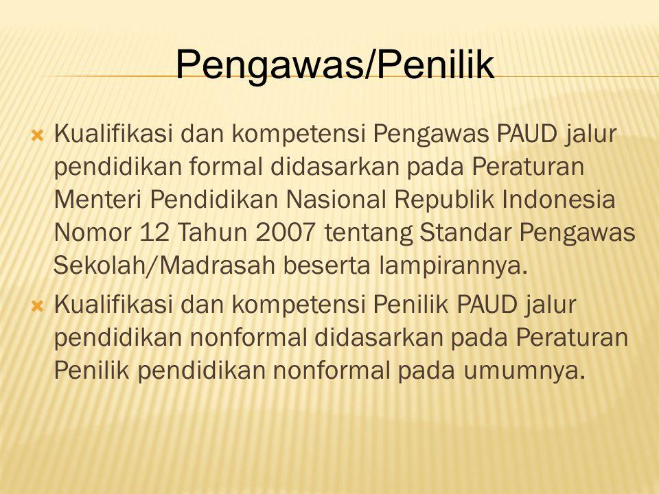  Kualifikasi dan kompetensi Pengawas PAUD jalur pendidikan formal didasarkan pada Peraturan Menteri Pendidikan Nasional Republik Indonesia Nomor 12 T
