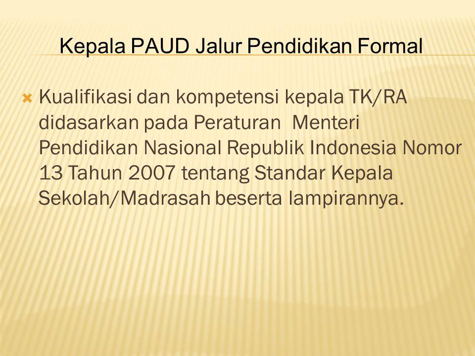  Kualifikasi dan kompetensi kepala TK/RA didasarkan pada Peraturan Menteri Pendidikan Nasional Republik Indonesia Nomor 13 Tahun 2007 tentang Standar