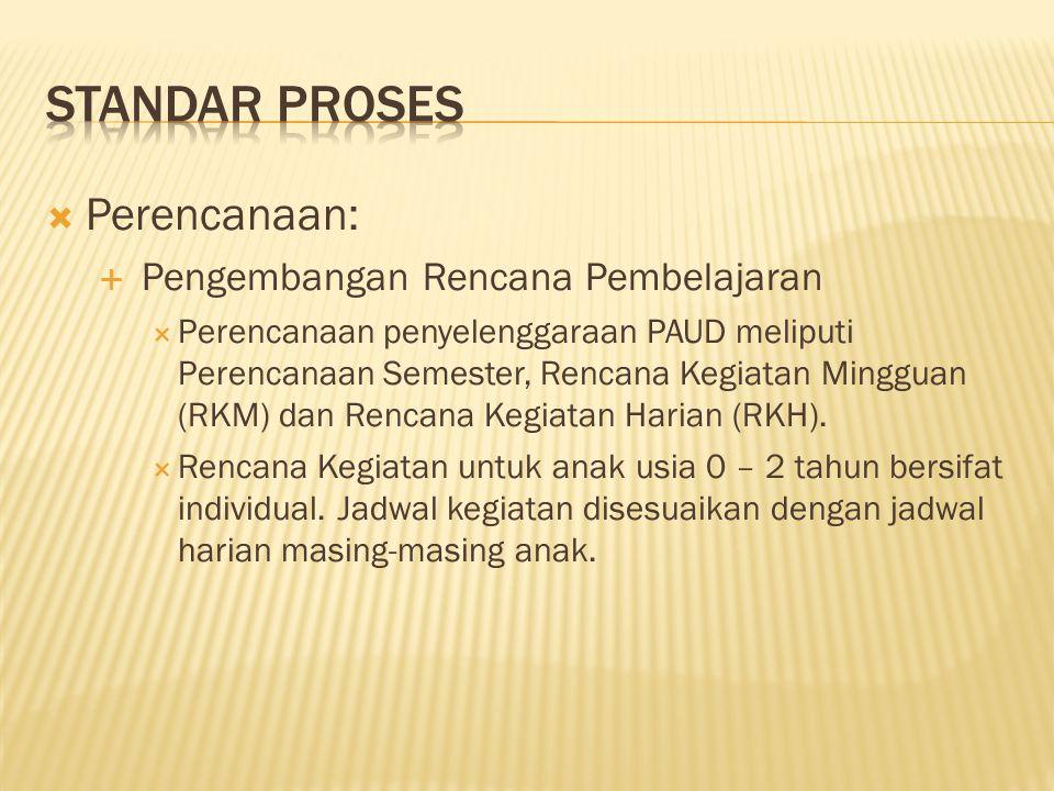  Perencanaan:  Pengembangan Rencana Pembelajaran  Perencanaan penyelenggaraan PAUD meliputi Perencanaan Semester, Rencana Kegiatan Mingguan (RKM) d